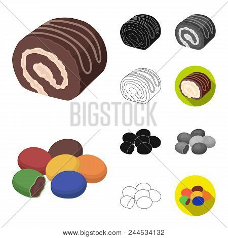 Chocolate Dessert Cartoon, Black, Flat, Monochrome, Outline Icons In Set Collection For Design. Choc