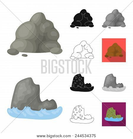 Different Mountains Cartoon, Black, Flat, Monochrome, Outline Icons In Set Collection For Design.mou