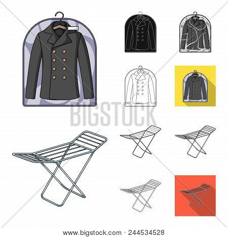 Dry Cleaning Equipment Cartoon, Black, Flat, Monochrome, Outline Icons In Set Collection For Design.