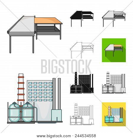 Equipment And Machine Cartoon, Black, Flat, Monochrome, Outline Icons In Set Collection For Design.t