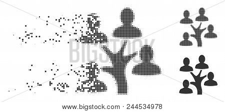 Grey Vector Genealogy Tree Icon In Dissolved, Pixelated Halftone And Undamaged Entire Versions. Rect