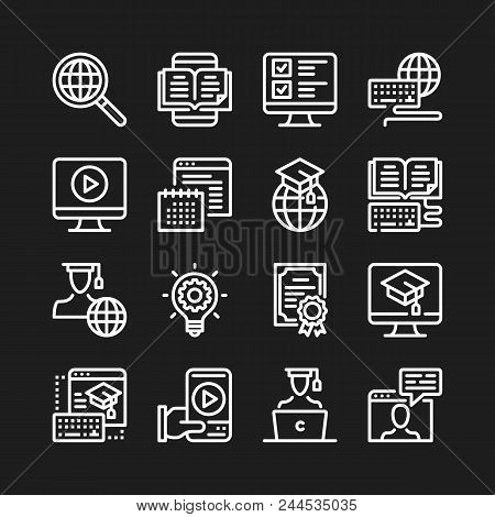 Online Education Line Icons. Modern Graphic Elements, Simple Outline Thin Line Design Symbols Collec