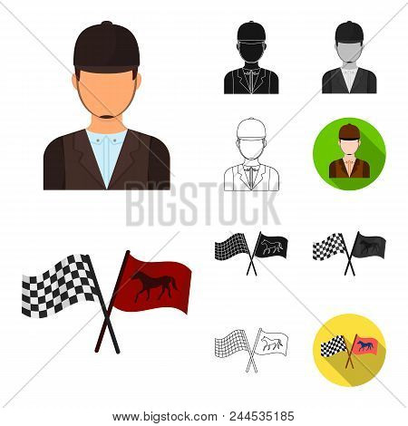 Hippodrome And Horse Cartoon, Black, Flat, Monochrome, Outline Icons In Set Collection For Design. H