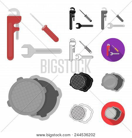 Plumbing, Fitting Cartoon, Black, Flat, Monochrome, Outline Icons In Set Collection For Design. Equi