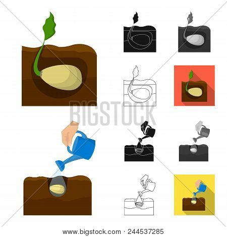 Farm And Agriculture Cartoon, Black, Flat, Monochrome, Outline Icons In Set Collection For Design. G