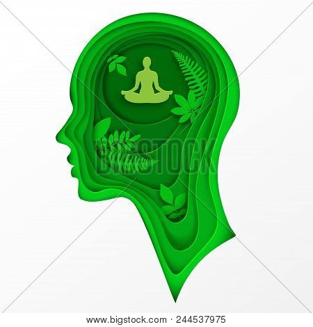 Modern layered cut out colored paper human profile with man sitting in calm lotus pose and tropic palm leaves. Concept of relaxation, tranquility and mental health.