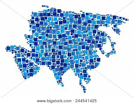 Asia Map Mosaic Of Randomized Square Elements In Various Sizes And Blue Color Tints. Vector Rectangl