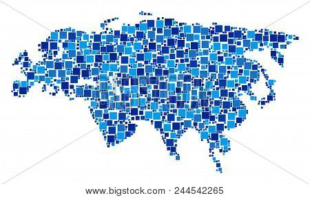 Eurasia Map Composition Of Random Dots In Variable Sizes And Blue Color Tints. Vector Small Square A