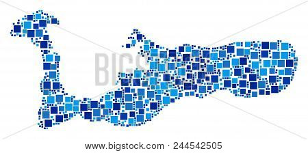 Grand Cayman Island Map Collage Of Scattered Filled Squares In Variable Sizes And Blue Color Tones.