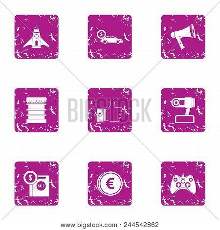 Money On Flight Icons Set. Grunge Set Of 9 Money On Flight Vector Icons For Web Isolated On White Ba