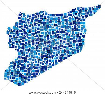 Syria Map Mosaic Of Scattered Square Elements In Different Sizes And Blue Shades. Vector Square Dots