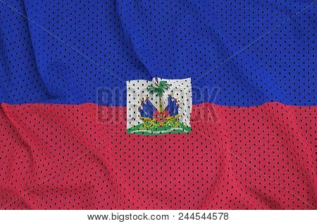 Haiti flag printed on a polyester nylon sportswear mesh fabric with some folds poster