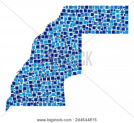 Western Sahara Map Collage Of Scattered Filled Squares In Various Sizes And Blue Shades. Vector Fill