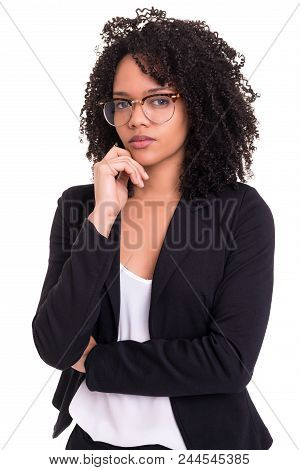 Beautiful Young African Business Woman Posing Isolated Over White