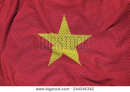 Vietnam flag printed on a polyester nylon sportswear mesh fabric with some folds poster