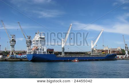Unloaded container ship