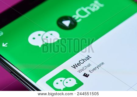 New York, Usa - June 10, 2018: Wechat Messenger Application On Android Smartphone Screen Close Up Vi