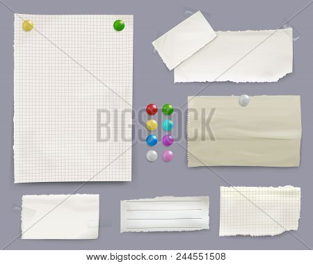 Message notes vector illustration of paper sheets with color pin clips on bulletin board background. Isolated set of memo stickers for office or home reminders and business to-do lists poster