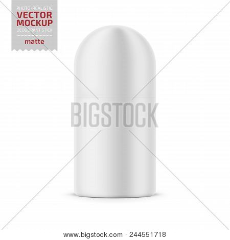 Round white matte plastic dry deodorant antiperspirant stick. 40 ml. Realistic packaging mockup template. Vector illustration. poster