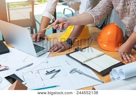 Engineer And Architect Concept, Engineer Architects And Real Estate Agent Office Team Working With B