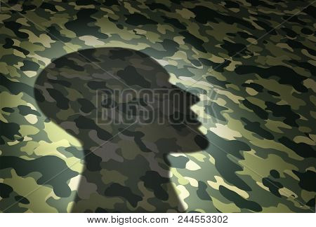 Military Issues Concept And Veterans Affairs Or The Va Security Symbol As The Shadow Of A Soldier On