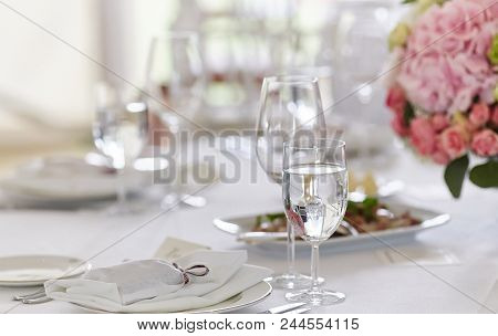 Close-up Image Of A Table On A Festive Event, Party Or Wedding Reception. Preparation For The Recept