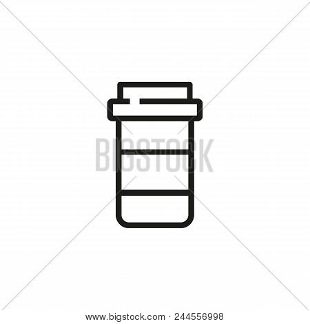 Pill Bottle Line Icon. Drug, Painkiller, Medication. Pharmacy Concept. Vector Illustration Can Be Us