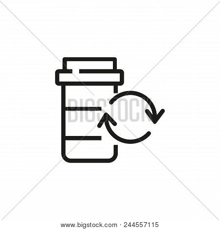 Recycling Prescription Medicine Bottle Line Icon. Prescription, Pill, Package. Ecology Concept. Vect