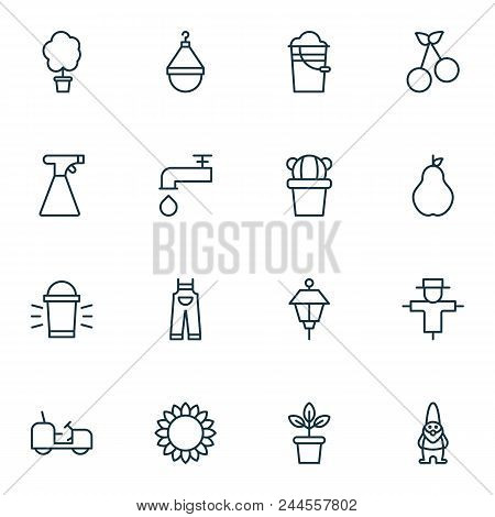 Farm Icons Set With Pail, Scale, Tractor And Other Spigot Elements. Isolated Vector Illustration Far