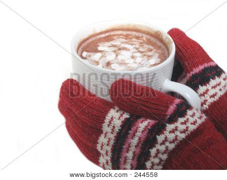 gloved hands holding hot cocoa poster