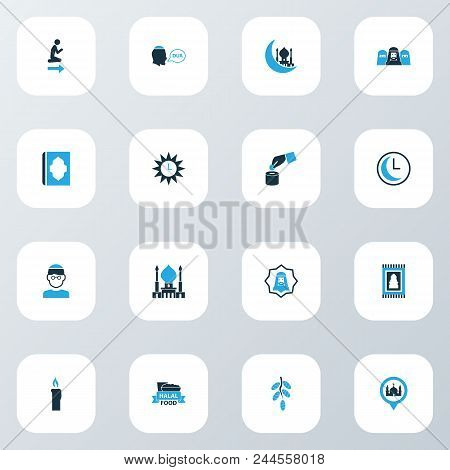 Religion Icons Colored Set With Clock, Holy Book, Mussulmans And Other Food Elements. Isolated Vecto