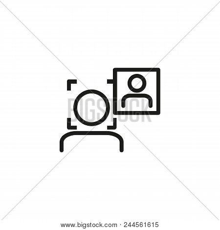 Face Authentication Line Icon. Man, Portrait, Scanning. Security Concept. Can Be Used For Topics Lik