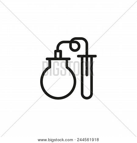 Lab Flask And Tube Line Icon. Laboratory, Chemical Experiment, Test. Chemistry Concept. Can Be Used