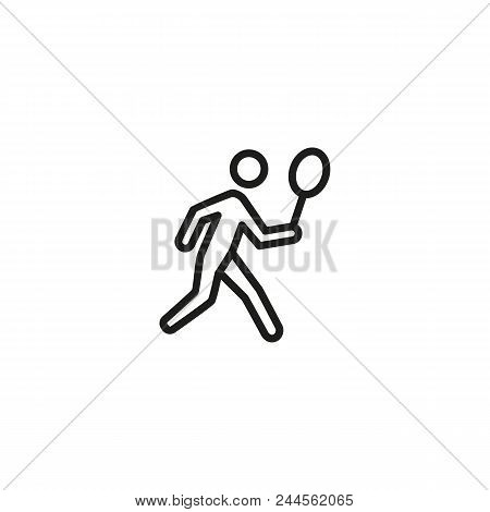 Man Playing Badminton Line Icon. Racket, Court, Player. Summer Sport Concept. Can Be Used For Topics