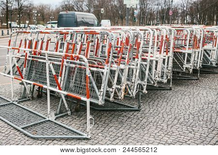 Barricades Or Fences For Public Actions In Berlin. Fences For Demonstration Or Protest Action And Pr