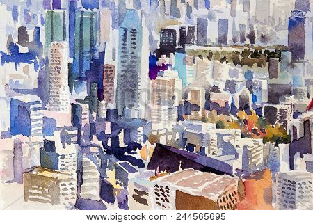 View Of The Town Landmark Of Japan - Asia Business Concept For Real Estate. Watercolor Painting Land
