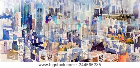 View Of The Town Landmark Business Concept For Real Estate. Watercolor Painting Landscape Semi Abstr