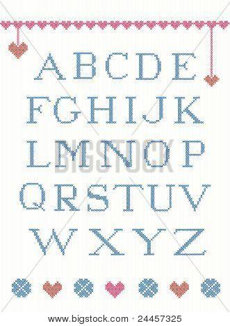 Cross stitch alphabet.