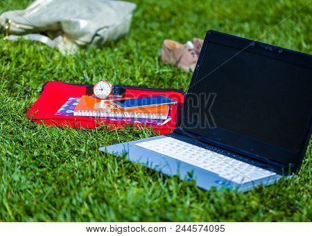 Close Up Of Worktools For Cyberspace Advertising Business Outdoors.