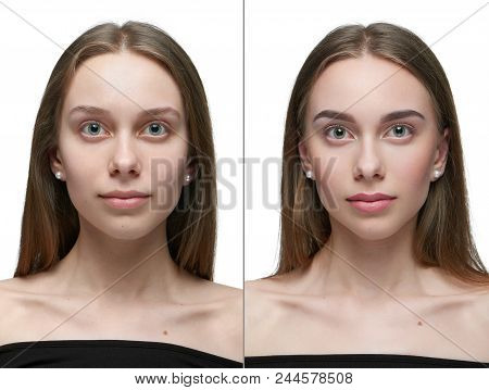 Photo Comparison Of One Girl Before And After Make Up. Left Pert - Looking At Camera Girl Without Ma
