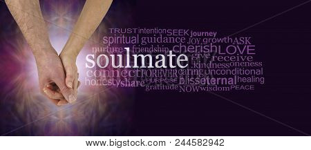 Soulmates Hand In Hand Word Cloud - Mature Male And Female  Hands Holding With The Word Soulmate Sur