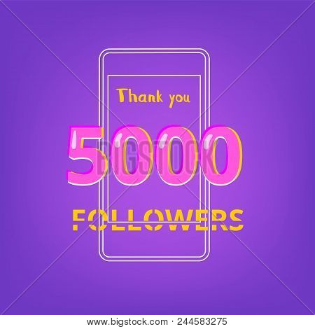 5000 Followers Thank You Phrase With Random Items. Template For Social Media Post. Glitch Chromatic