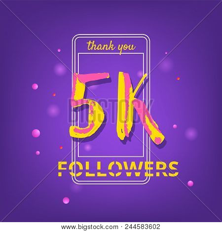 5k Followers Thank You Phrase With Random Items. Template For Social Media Post. Handwritten Letters