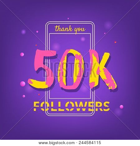 50k Followers Thank You Phrase With Random Items. Template For Social Media Post. Handwritten Letter