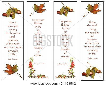 Four Bookmarks: Nature Theme: Hand-Drawn