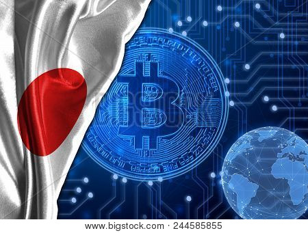Flag Of Japan Is Shown Against The Background Of Crypto Currency Bitcoin. Global World Crypto Curren