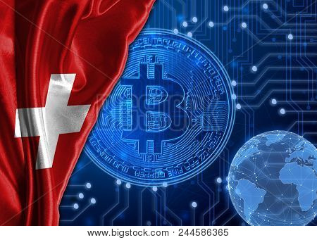 Flag Of Switzerland Is Shown Against The Background Of Crypto Currency Bitcoin. Global World Crypto