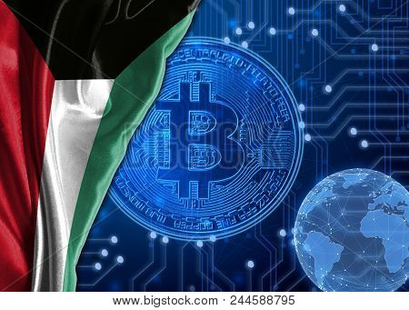 Flag Of Kuwait Is Shown Against The Background Of Crypto Currency Bitcoin. Global World Crypto Curre