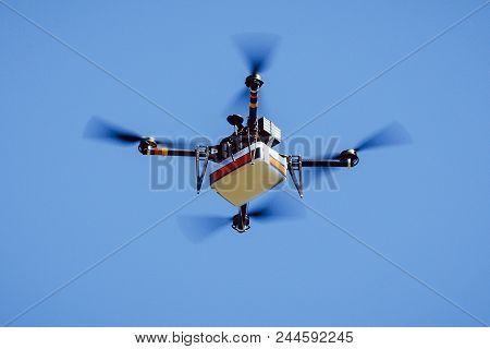 Drone Carrying Package Quadcopter Delivery Flight Cargo