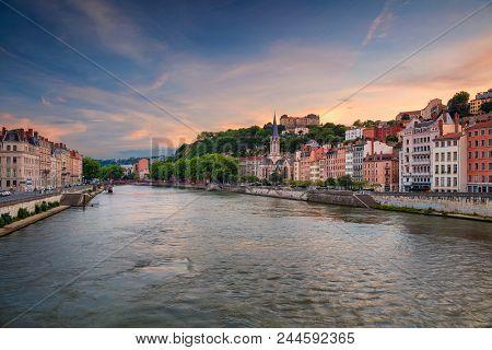 Lyon. Cityscape Image Of Lyon, France During Sunset.